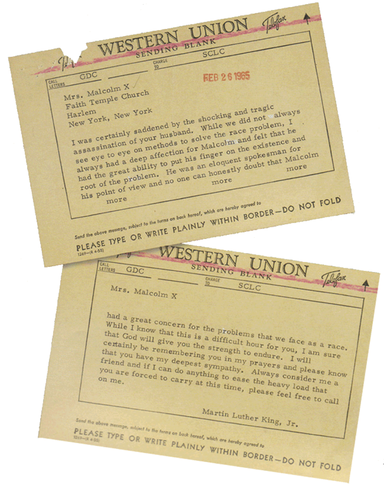 Telegram from Martin Luther King, Jr., to Betty Shabazz, the widow of Malcolm X. (Courtesy of the King Papers Project at Stanford University)