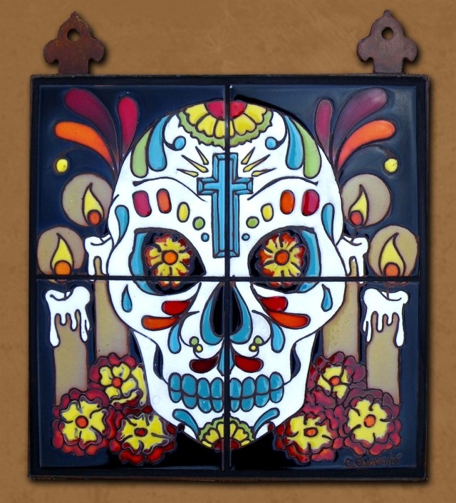 Day of the Dead Altar with Cross Tile Mural by Carly Quinn Designs at CustomMade.com