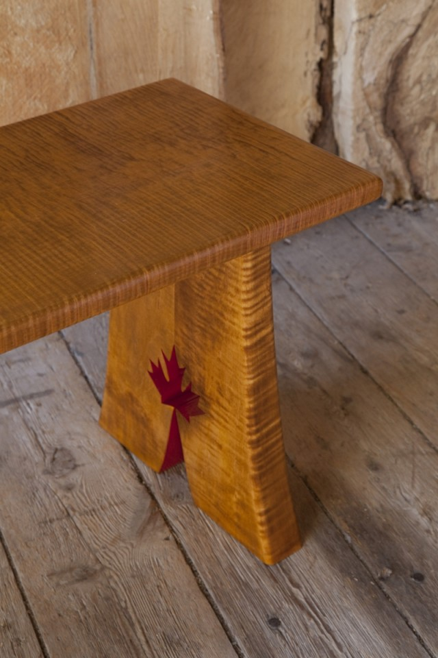 Olympic Tiger Maple Bench/Table, leg detail, by Thomas Miller Furniture at CustomMade.com