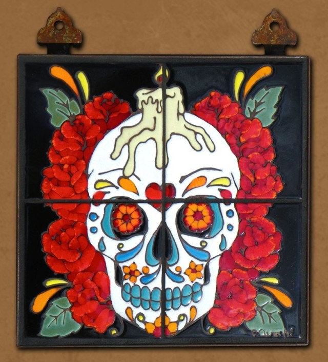 Day of the Dead Rose Man Tile Mural by Carly Quinn Designs at CustomMade.com