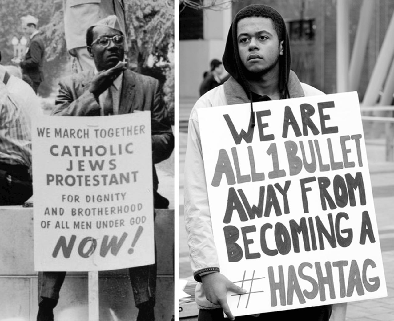 Left: a civil rights activist in the Selma-to-Montgomery March, 1965 (Photo by Peter Pettus/Library of Congress). Right: a civil rights activist in Silver Spring, Maryland, 2014 (Photo by Stephen Melkisethian, CC BY-NC-ND 2.0)