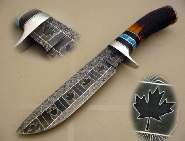 Mosaic Damascus Hunter by Cote Custom Knives at CustomMade.com