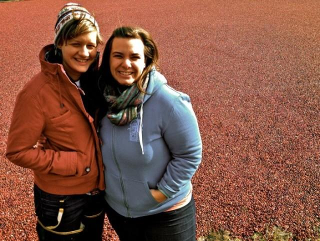Rachel, left, and Jaquie, right, at a cranberry bog earlier this year.