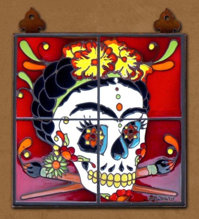"""Frida Kahlo with Brushes"" Tile Mural by Carly Quinn Designs at CustomMade.com"