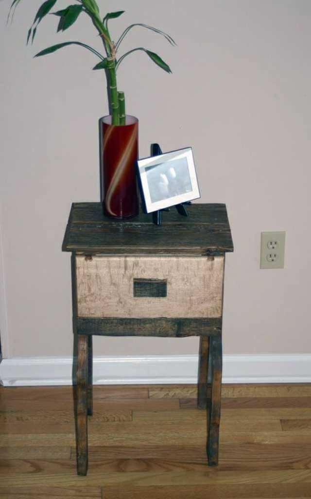 Reclaimed Pallet and Flame Maple Nightstand by tim sway perspectives at CustomMade.com