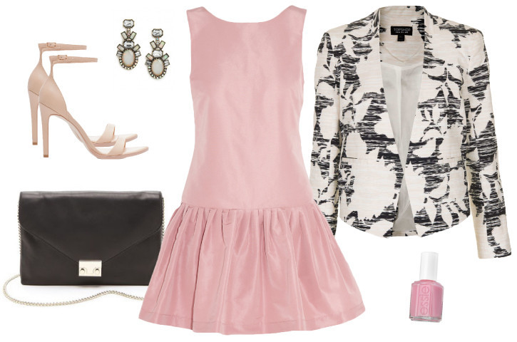 Party-dress-frock-fashion-classic-pink-purse-blazer-heels-matchbook