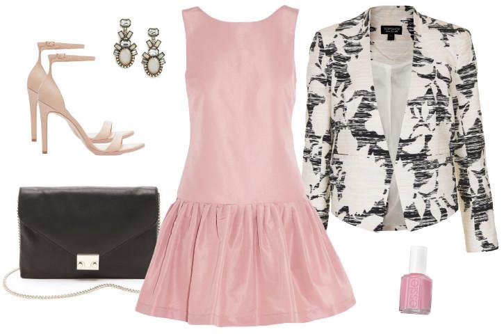 Party-dress-frock-fashion-classic-pink-purse-blazer-heels-matchbook