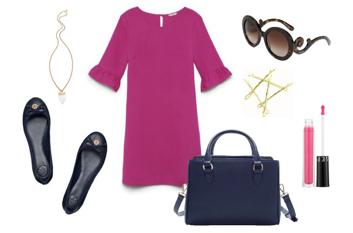 Shift-dress-ballet-flats-clubmonaco-toryburch-handbag-classic-fashion-matchbook