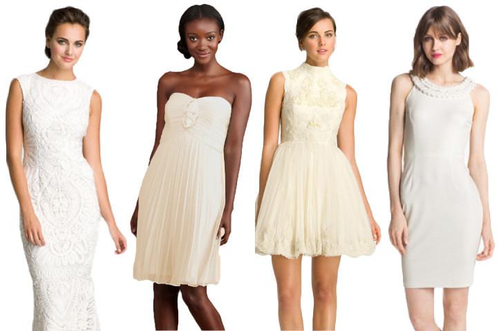 Wedding Dresses White Lace Silk Classic Short Lwd
