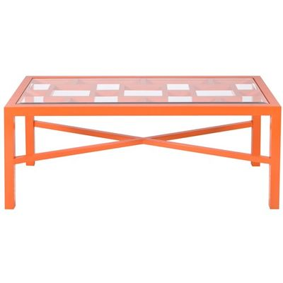 worlds away winter harbor orange coffee table - matchbook magazine