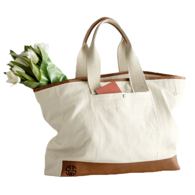Canvas-with-leather-tote