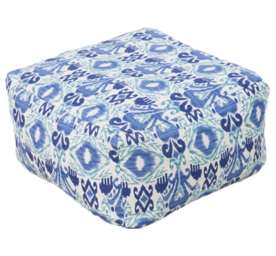 Ikat_blue_outdoor_pouf