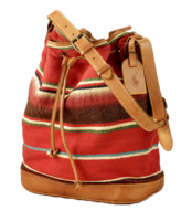 Serape-and-leather-bucket-bag