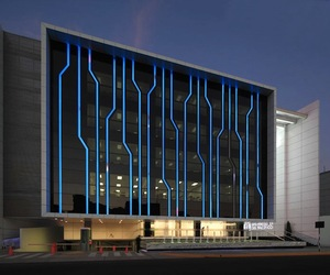 Glowing Tron Facade on Peruvian University