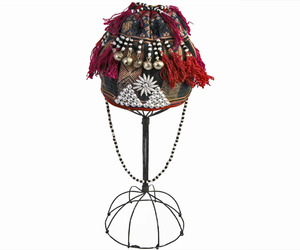 Antique-hmong-tribe-beaded-hemp-baby-girls-hat-on-stand-m