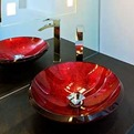 Bathroom-powder-room-with-red-glass-sink-s