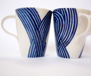 Blue Stripe Porcelain Cups by John Newdigate