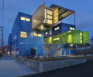 Box Office Constructed from 12 Shipping Containers