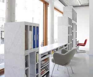 Contemporary-work-desk-and-storage-unit-of-solid-marble-m
