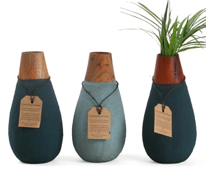 drop-shaped vase made from recycled paper and offcut wood
