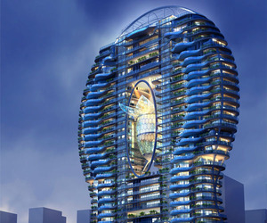 Glass Pool-Adorned Residential Tower