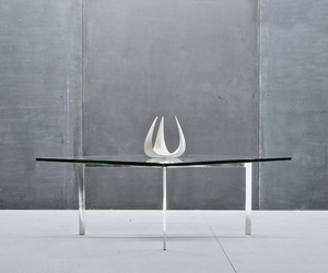 Ludwig Mies Van de Rohe Barcelona Glass Steel Table