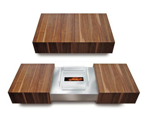 Modern Coffee Table Conceals Fireplace by Schulte Design