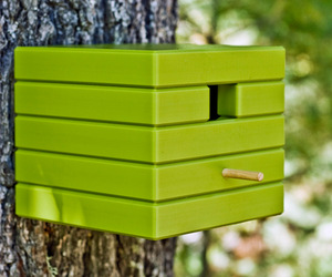 Modern Recycled Outdoor Cube Birdhouse from Loll