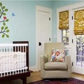 Nursery-turquoise-gold-mural-green-building-by-bill-fry-s