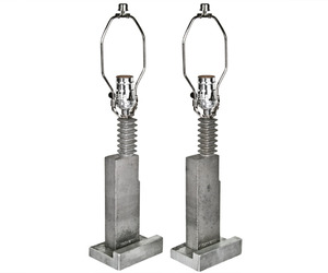 Pair of Repurposed Aluminum Balloon Factory Mold Lamps