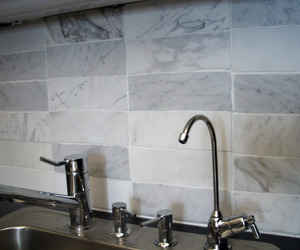 Pale Gray and White Re-purposed Marble Tiles