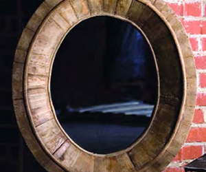 Pieced Wood Oval Mirror