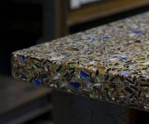 Recycled glass countertops vetrazzo for Crushed glass countertops