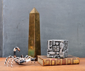 Sarreid Brass Obelisk & Sheldon Rose Cube Design Elements