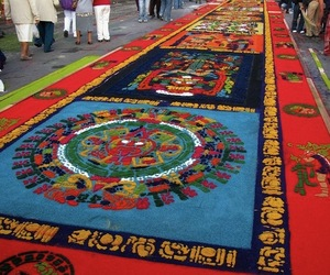 Semana Santa Holiday Sawdust Carpet Art in Antigua