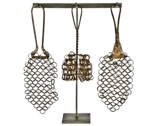 Set of 3 Antique Chain Mail Pot Scrubbers at Relique.com