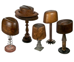 Set of 5 Antique Hat Forms on Industrial Bases at Relique