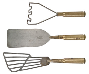 Set of Three Vintage WWII Trench Art Kitchen Utensils