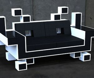 Show off your geeky fervor with Space Invader couch