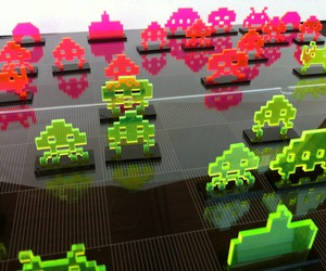 Space Invader Chess Set laser cut from acrylic