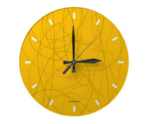 squiggy yellow wall clock