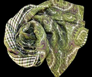 Stanley-lewis-paisley-check-green-scarf-m