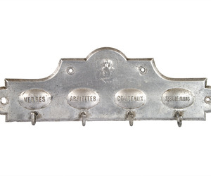 Vintage French Aluminum Towel Hook Rack at Relique