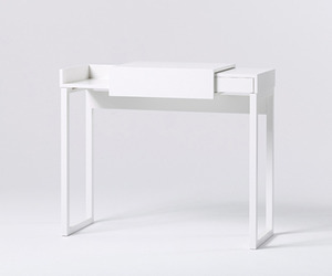 """Hidden"" White Compact Laptop Desk"