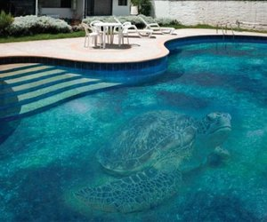 Wide format images in pools. Glass mosaic.
