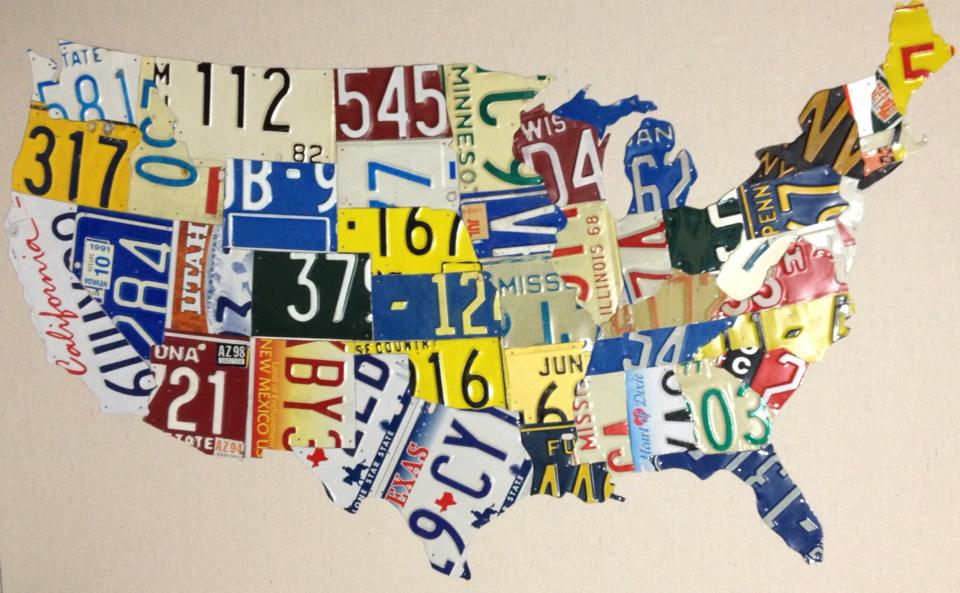 Matt Blacks Folk Art Gallery USA license plate map