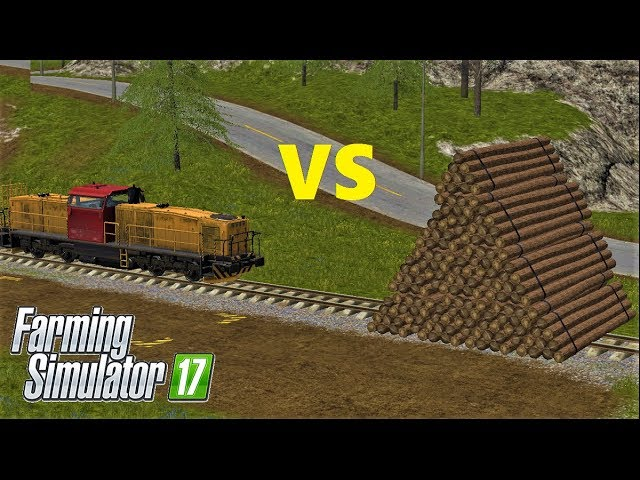 Farming Simulator 17 LOG PYRAMID VS +100 KMH TRAIN