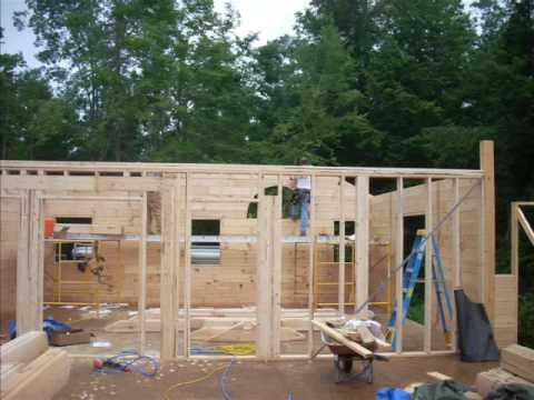 Build log home to roof