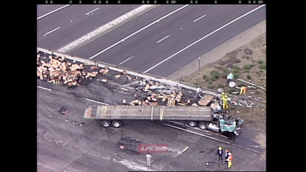 Wood pallet spill on freeway