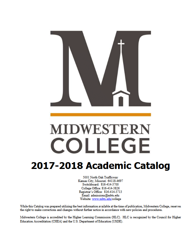 Midwestern College 2017-18 Academic Catalog